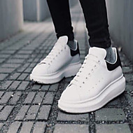 Women's Shoes Leather Flat Heel Round Toe Fashion Sneakers Casual White