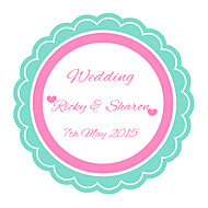 Personalized Wedding Tags Address Labels Envelope Sticker Tiffany Blue Laciness Pattern Of Filmed Paper