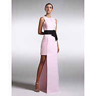 저녁 정장파티 드레스 - 블러슁 핑크 시스/컬럼 바닥 길이 보석 사틴