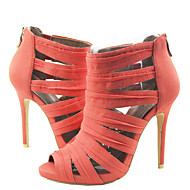 Women's Shoes Linen Stiletto Heel Platform/Toe Ring/Round Toe Sandals Party & Evening/Dress Coral