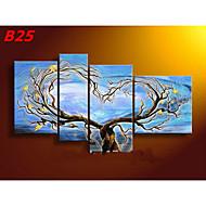 handbemalte abstrakte Liebhaber Baum-Ölgemälde auf Segeltuch 4pcs / set keinen Rahmen