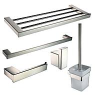 Stainless Steel Bath Hardware Set with Towel Shelf Toilet Paper Holder Single Towel Bar Robe Hook Toilet Brush Holder