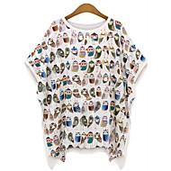 T-shirt Da donna Casual / Taglie forti Semplice Estate,Con stampe Rotonda Cotone Bianco / Nero Mezze maniche Sottile