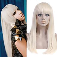 Long Straight Platinum Blonde Lady Gaga Poker Face' Wig Super Star Same Wigs