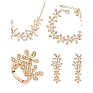 European Style Fashion Smile Blossoming Crystal Necklace Bracelet Earrings Ring Set