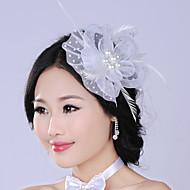 Dame Fjer/Imiteret Perle/Net Medaljon Bryllup/Speciel Lejlighed Blomster/Hårnål Bryllup/Speciel Lejlighed 1 Stykke