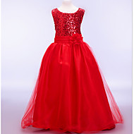 A-line / Ball Gown Ankle-length Flower Girl Dress - Cotton / Tulle / Sequined / Polyester Sleeveless Jewel with