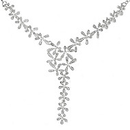 Women's Fashion Luxury Super Shiny Rhinestone Five Leaves Flowers Alloy Necklace