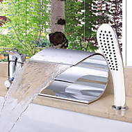 Contemporary Roman Tub Waterfall with  Ceramic Valve Single Handle Three Holes for  Chrome , Bathtub Faucet