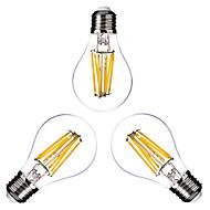 3 pçs ONDENN E26/E27 6W 6 COB 600 LM Branco Quente G60 edison Vintage Lâmpadas de Filamento de LED AC 220-240 / AC 110-130 V