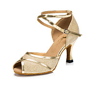 Customizable Women's/Kids' Dance Shoes Latin Leatherette Flared Heel Gold