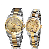 GUANQIN® Luxury Diamond Automatic Self-winding Couple Watch Steel Waterproof Calendar Luminous Women Men Wristwatch Cool Watcheses With Watch Box