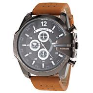 JUBAOLI® Men's Military Style Black Case Khaki Leather Band Quartz Wrist Watch Cool Watch Unique Watch