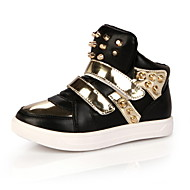 Girls' Shoes Casual Comfort/Round Toe/Closed Toe Leather Fashion Sneakers Black/Red/White
