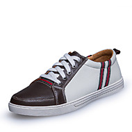 Men's Spring Summer Fall Winter Comfort Leather Office & Career Casual Athletic Flat Heel Lace-up Blue Brown