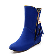 Women's Boots Spring Fall Winter Comfort Fleece Office & Career Casual Athletic Flat Heel Crystal Zipper Tassel Black Brown Red Blue