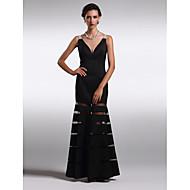 구슬과 TS couture® 공식적인 저녁 / 블랙 타이 갈라 드레스 플러스 사이즈 / 아담 칼집 / 칼럼 V 넥 발목 길이 새틴