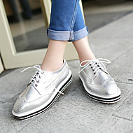 Women's Shoes Low Heel Square Toe Oxfords Office & Career/Casual Black/White/Silver