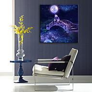 e-Home® venytetty johtama kankaalle print Art pieni silta kalastus led vilkkuu valokuitu print