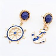 Navy Blue Anchor Earring And Navy Blue Rudder Earring(Navy Blue)(1Pr)