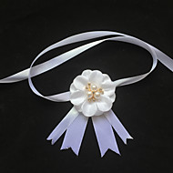Garter Stretch Satin Flower/Imitation Pearl White