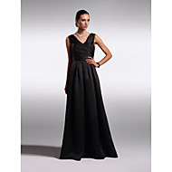 TS Couture® Formal Evening Dress - Black Plus Sizes / Petite A-line V-neck Floor-length Satin