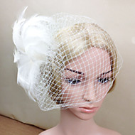 Women Feather/Net White Elegant Flowers/Birdcage Veils With Wedding/Party Headpiece