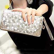 Women 's PU Wallet - Gold/Silver/Black
