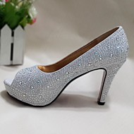 Women's Spring Summer Fall Glitter Wedding Casual Party & Evening Stiletto Heel Crystal Heel Crystal Sequin Sparkling Glitter Silver