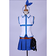 Ispirato da Fairy Tail Lucy Heartfilia Anime Costumi Cosplay Abiti Cosplay Collage Blu Senza manicheTop / Gonna / Accessori per capelli /