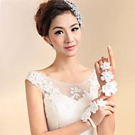 Até o Pulso Com Dedos Luva Renda Luvas de Noiva Marfim Apliques / Floral / Strass