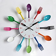 Cool Stylish Modern Design Wall Clock Colorful Kitchen Cutlery Utensil Vintage Design Wall Clock Spoon Fork Home Decor