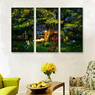 E-HOME® Stretched LED Canvas Print Art Forest Tree House And Rabbit LED Flashing Optical Fiber Print Set of 3