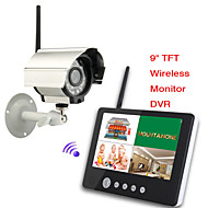 9 inch Digital 2.4G Wireless Cameras Audio Video Baby Monitors 4CH Quad DVR Security System With IR night light Cameras