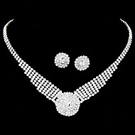 Women's European Style Shiny Rhinestone Bridal Necklace Earring Set