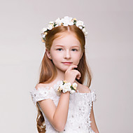 Flower Girl's Polyester Headpiece Bracelet - Wedding/Casual/Outdoor Wreaths 2 Pieces