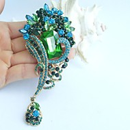 4.72 Inch Gold-tone Blue Green Rhinestone Crystal Flower Brooch Pendant Art Decorations
