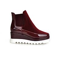 נעלי נשים - מגפיים - פליז / עור פטנט - פלטפורמות / מרובע / מגפי אופנה - שחור / אדום / בורגונדי - שמלה / קז'ואל - עקב וודג'