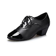 Customizable Men's Dance Shoes Leather Leather Latin / Samba Loafers Low Heel Practice / Beginner / Professional / Indoor / Outdoor Black
