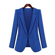 Höst Enfärgad Långärmad Plusstorlek Blazer Dam Medium Blå Svart