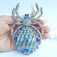 4.33 Inch Gold-tone Blue Rhinestone Crystal Spider Brooch Pendant Art Deco Crystal Sash Brooch Rhinestone Brooch