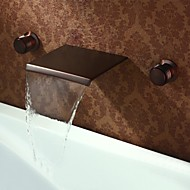 Brass ORB Finish Widespread Waterfall Wall Mount Basin Faucet