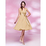 Knee-length Chiffon Bridesmaid Dress-Plus Size / Petite A-line / Princess V-neck