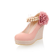 Women's Shoes Wedge Heel Wedges/Ankle Strap/Round Toe/Closed Toe Pumps/Heels Party/Dress Blue/Pink/Beige