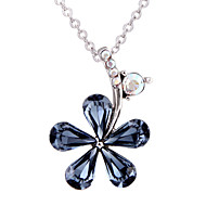 18K White Gold Plated Crystal Flower Blue Silver Chain Pendant Woman Necklace