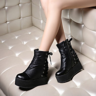 Women's Shoes Fabric Wedge Heel Platform/Fashion Boots/Round Toe Boots Dress/Casual Black/Silver