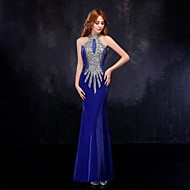 Formal Evening Dress - Royal Blue Trumpet/Mermaid High Neck Floor-length Tulle
