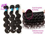 """4pcs / lot 8 """"-30"""" peruano color de cabello virgen # 1b onda del cuerpo extensiones de cabello humano del pelo lía gruesa&suave"""