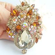 Gorgeous 3.15 Inch Gold-tone Topaz Rhinestone Crystal Flower Brooch Pendant