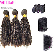 "4Pcs Lot 12""-30""Indian Virgin Hair Kinky Curly Natural Black Curly Human Weave Bundles Shed & Tangle Free"